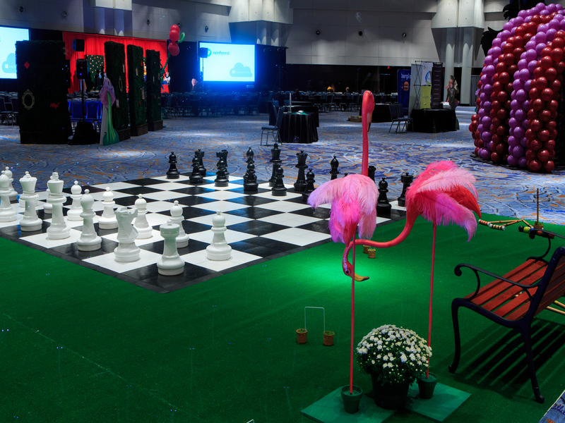 Checked Dance Floor used as Chess Board Prop