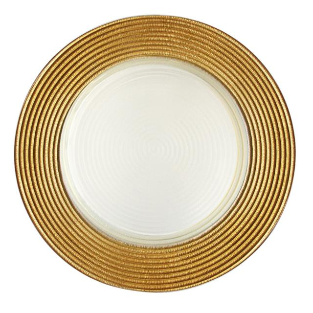 Where to find Matte Gold Saturn Glass Charger 12 in New Orleans