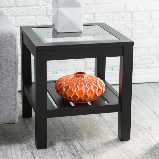 Where to find Black Wood Glass Top Side Table in New Orleans